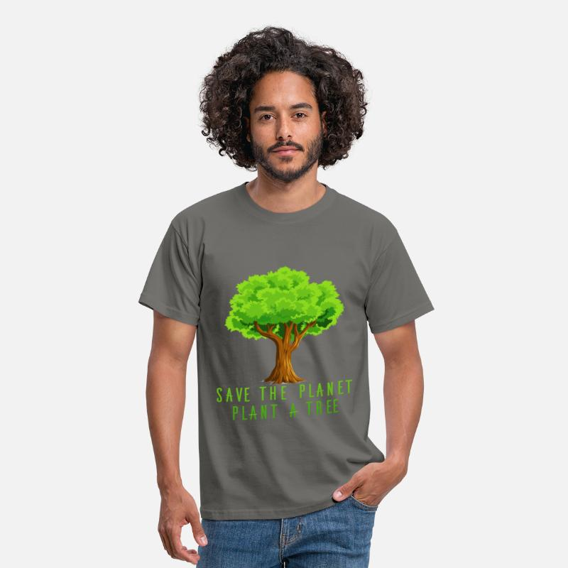 Planet T-shirt T-Shirts - Planet - Save the planet, plant a tree - Men's T-Shirt graphite grey