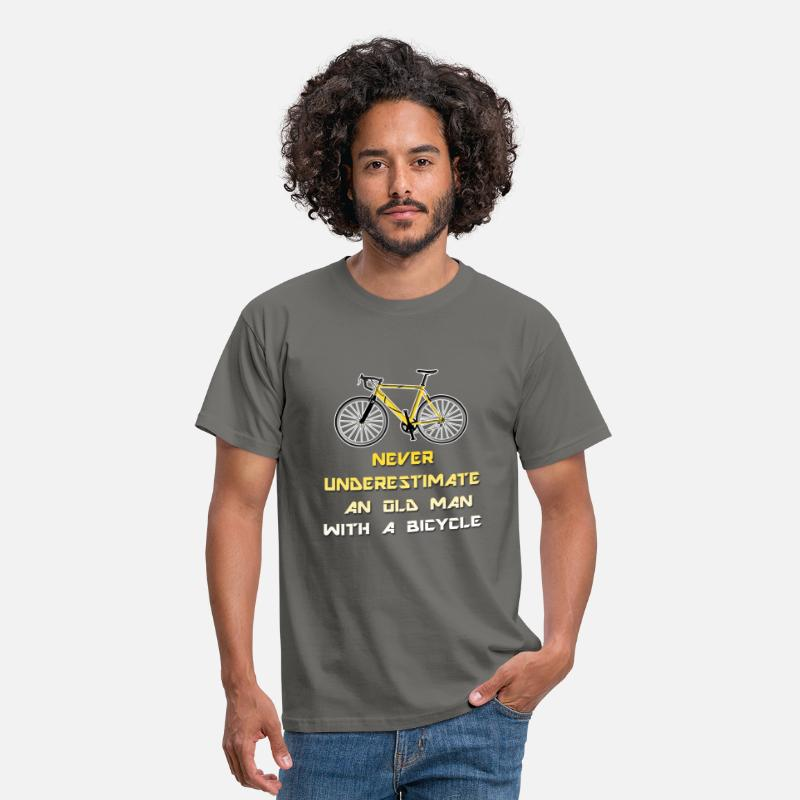 Never T-Shirts - Cycling - Never underestimate an old man with a  - Men's T-Shirt graphite grey