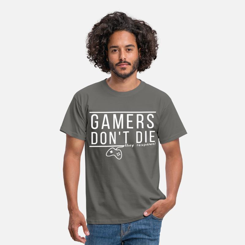 Gamer T-Shirts - Gamer  - Gamers don't die they respawn! - Men's T-Shirt graphite grey