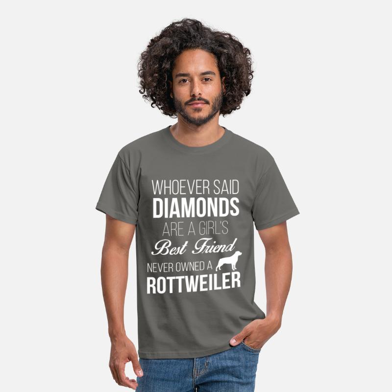 Rottweiler T-Shirts - Rottweiler - Whoever said diamonds are girl's best - Men's T-Shirt graphite grey