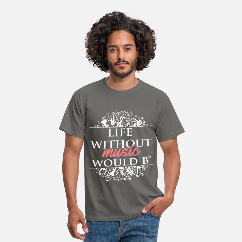 Music T-Shirts - Music teacher - Life without music would be flat. - Men's T-Shirt graphite grey