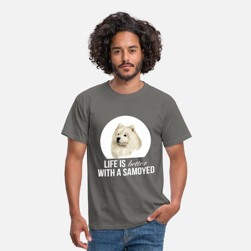 My T-Shirts - Samoyed - Life is better with a Samoyed - Men's T-Shirt graphite grey