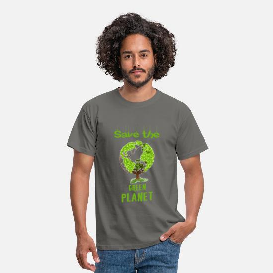 Green Planet T-shirt T-Shirts - Green planet - Save the green planet. - Men's T-Shirt graphite grey
