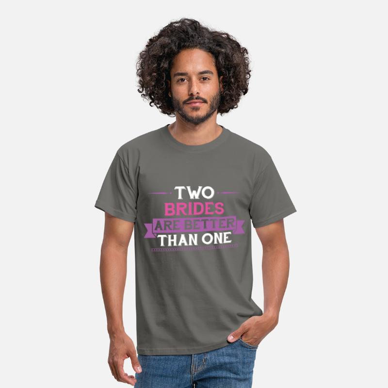 Lesbian T-shirt T-Shirts - Lesbian - Two Brides Are Better Than One - Men's T-Shirt graphite grey