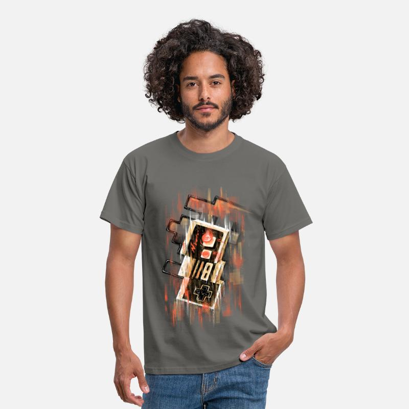 Geek T-shirts - Blurry NES - T-shirt Homme gris graphite