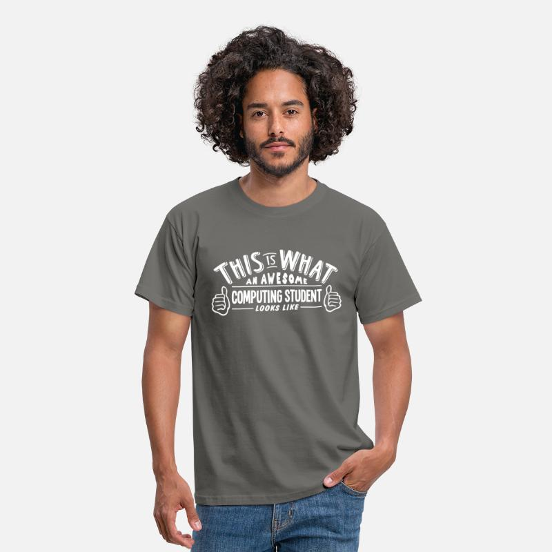 T-Shirts - awesome computing student looks like pro - Men's T-Shirt graphite grey
