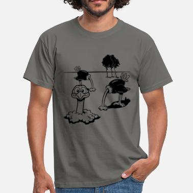 Sand Strauss emu funny head in the sand - Men's T-Shirt