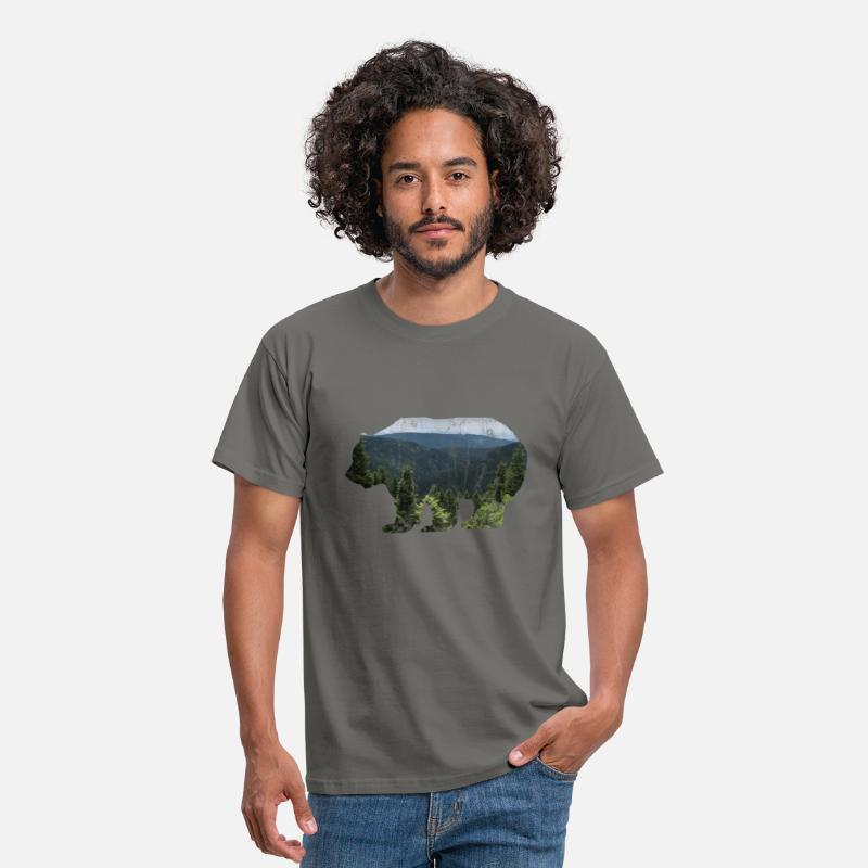 Panoramic T-Shirts - Forester Bear / Nature Wildlife - Men's T-Shirt graphite grey