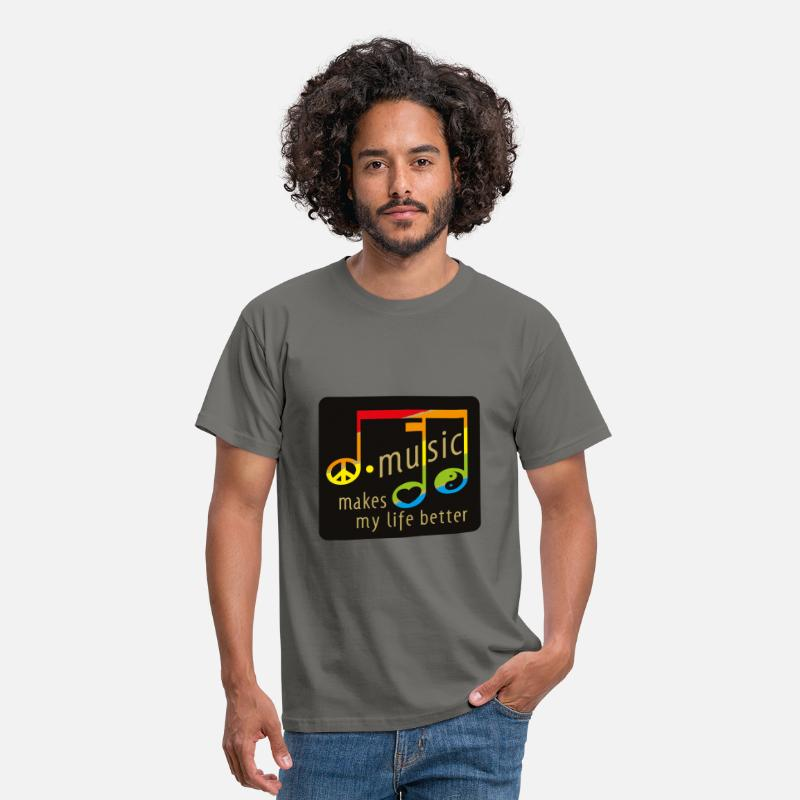 Peace T-Shirts - music makes my life better - Männer T-Shirt Graphite