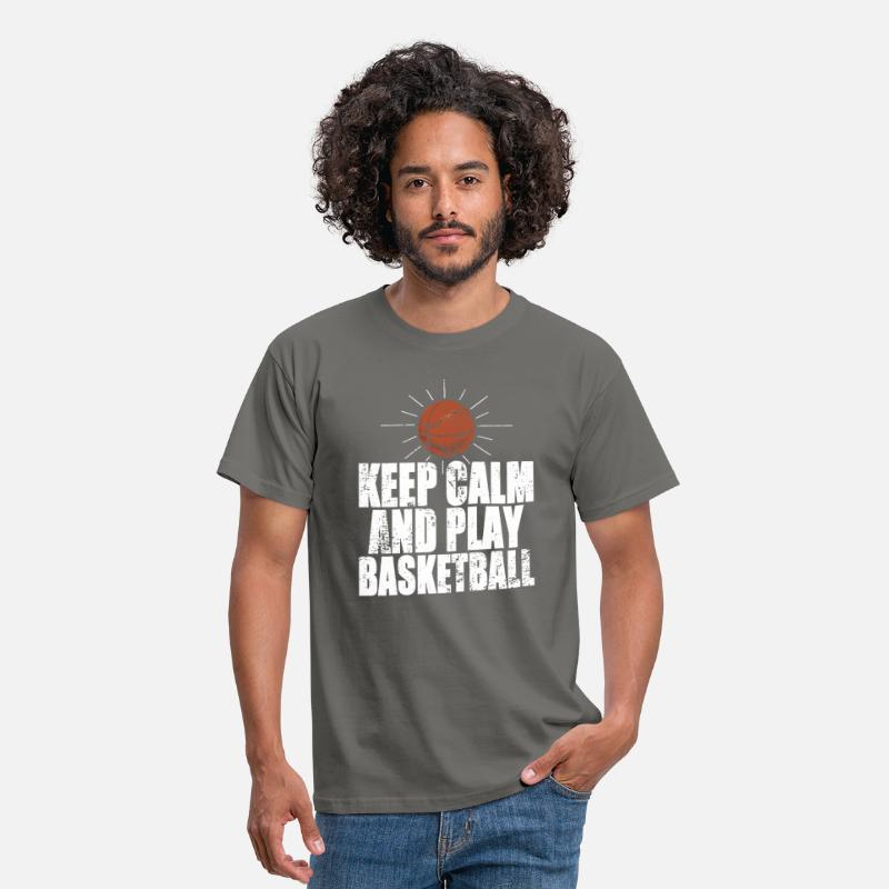 Basket T-shirts - Keep Calm And Play Basketball - T-shirt Homme gris graphite