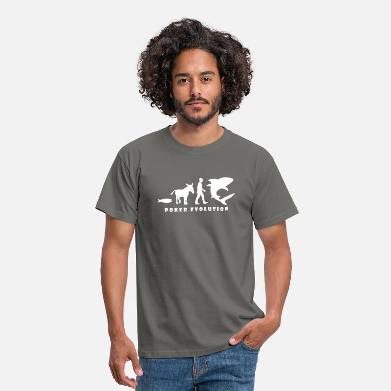 Donkey T-Shirts - Poker Evolution - Fish, Donkey, Man, Shark - Men's T-Shirt graphite grey