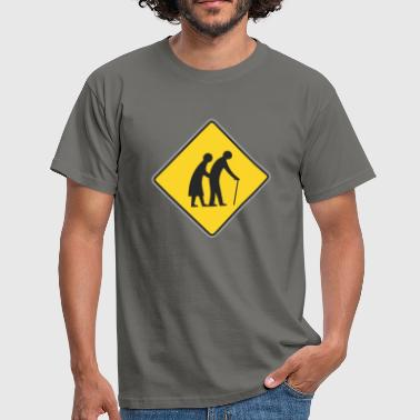 Road sign Old people - Men's T-Shirt