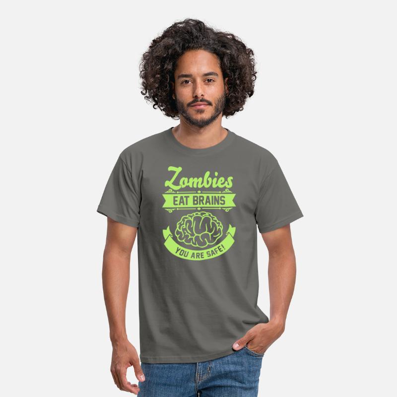 Geek T-shirts - Zombies eat Brains you are safe! - T-shirt Homme gris graphite