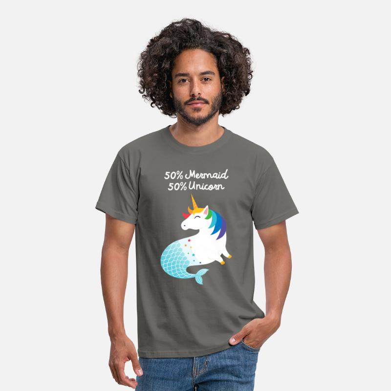Mermaid T-Shirts - 50% Mermaid - 50% Unicorn - Men's T-Shirt graphite grey