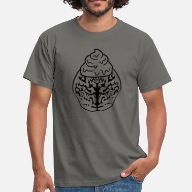 Shit For Brains head brain think stupid idiot vollidiot shit k - Men's T-Shirt
