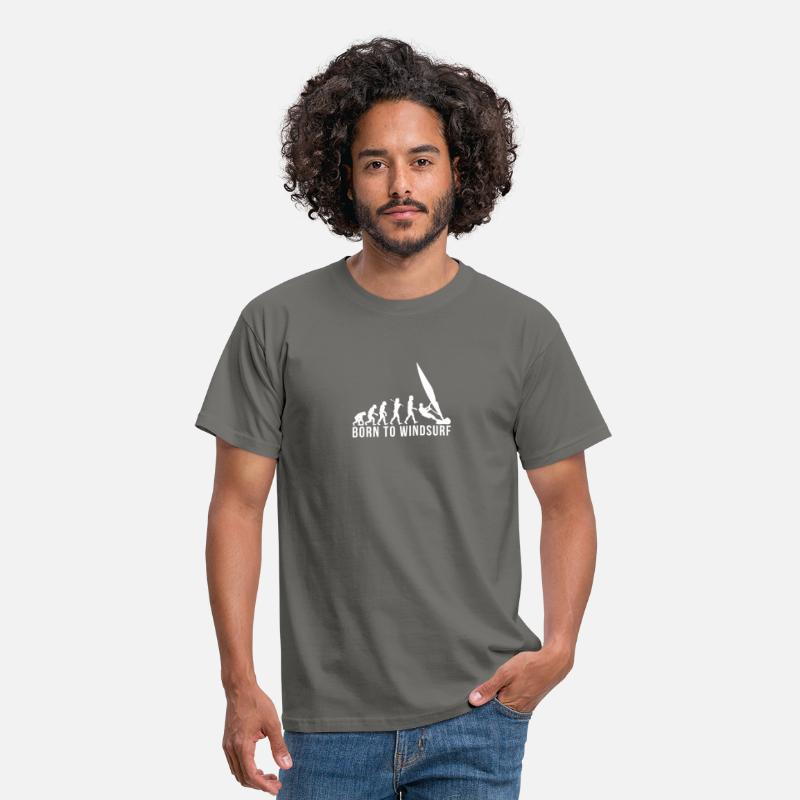 Windsurfing T-shirts - windsurfing evolution born to windsurf - T-shirt Homme gris graphite