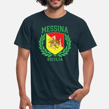 Cefalü MESSINA: Sicilia Flag and Trinacria Shield Design - Men's T-Shirt