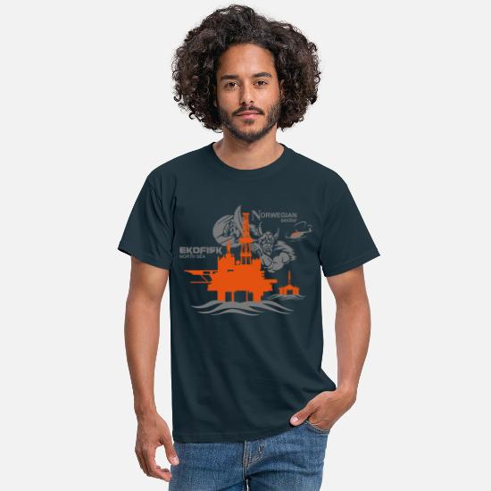 Oil T-Shirts - Ekofisk Oil Rig Platform North Sea Norway - Men's T-Shirt navy