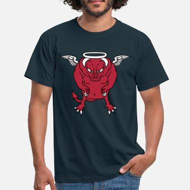 Troll angel sky wings holy ring fly hell demon devil sat - Men's T-Shirt