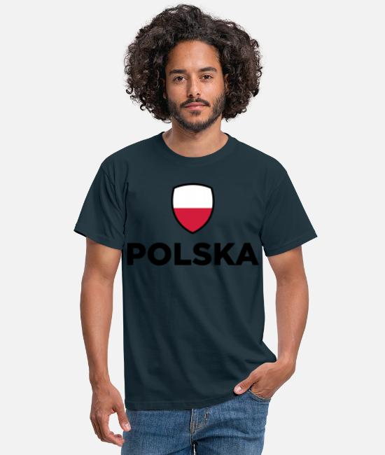 Red T-Shirts - National Flag of Poland - Men's T-Shirt navy