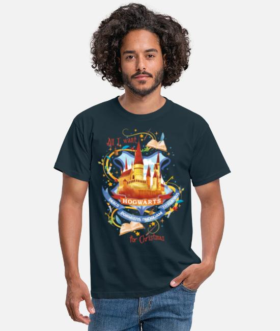 Christmas T-shirts - Harry Potter X-Mas Hogwarts - T-shirt mænd marineblå