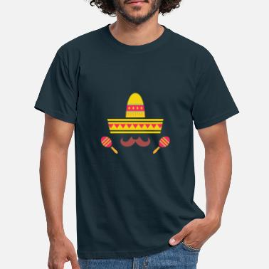 Sombrero Mexican Sombrero Hat and Moustache - Men's T-Shirt