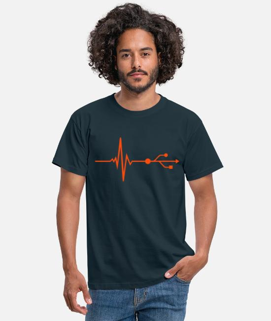 Fréquence T-shirts - USB - DJ - Pulse - Beat - T-shirt Homme marine