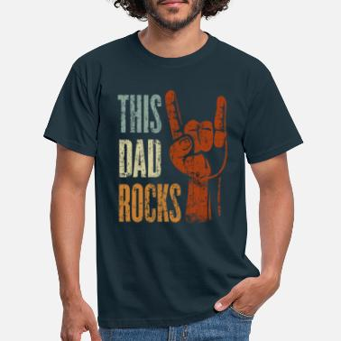 Hand This Dad Rocks Rock n 'Roll Heavy Metal Gift - Men's T-Shirt