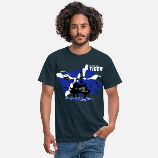 Oil Rig T-Shirts - Oil Rig Oil Field North Sea Tiger Aberdeen - Men's T-Shirt navy