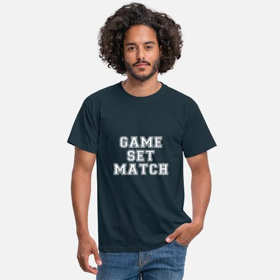 Set T-shirts - game set match - T-shirt herr marinblå