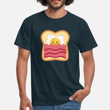Speilegg Kawaii stekt egg med bacon på toast | Egg + bacon - T-skjorte for menn