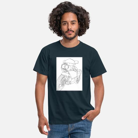 Biker T-Shirts - Motorcycle Drawing Printed Black and White - Men's T-Shirt navy
