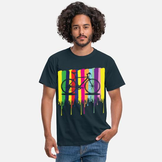 Cycling T-Shirts - rainbow colors bicycle - Men's T-Shirt navy