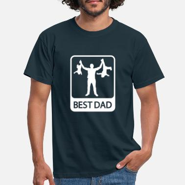 Dad Best Dad - Funny Silhouette - Father and Children - Men's T-Shirt