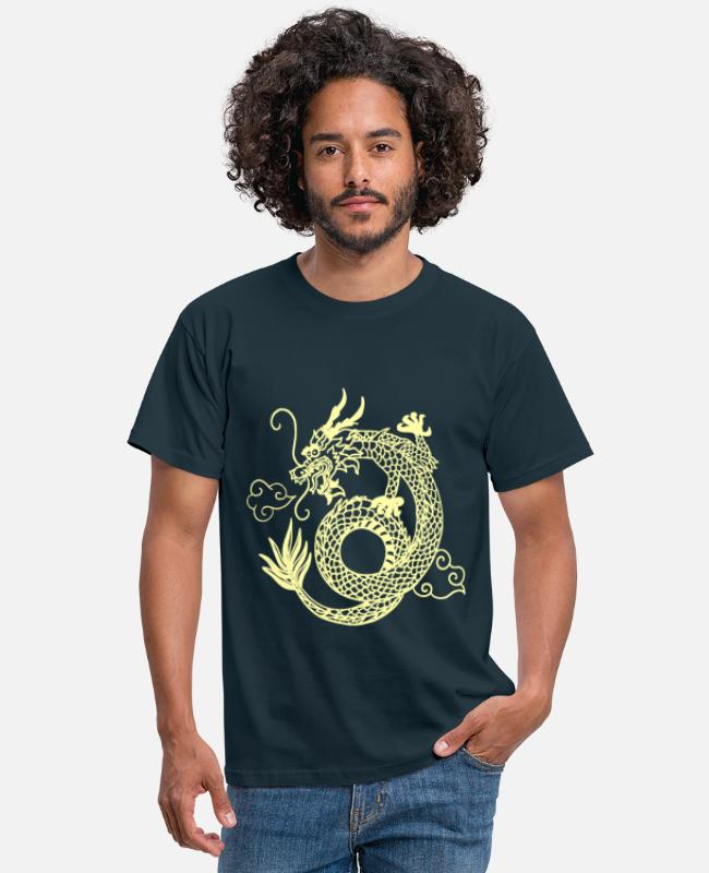 Asien (Country) T-shirts - kinesisk drage - T-shirt mænd marineblå