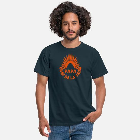 Papa T-shirts - papa chef tribu coiffe indien 0 - T-shirt Homme marine