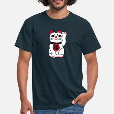 Japan maneki neko - T-skjorte for menn