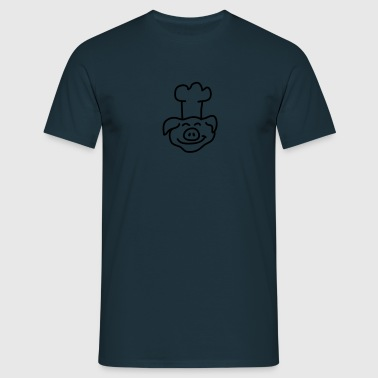 Pig Chef Head - Mannen T-shirt
