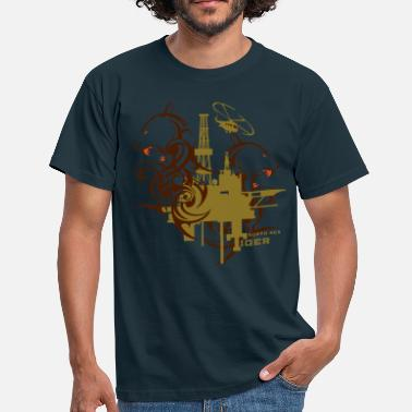 Oil Drilling Oil Rig Oil field North Sea Tiger Aberdeen  - Men's T-Shirt