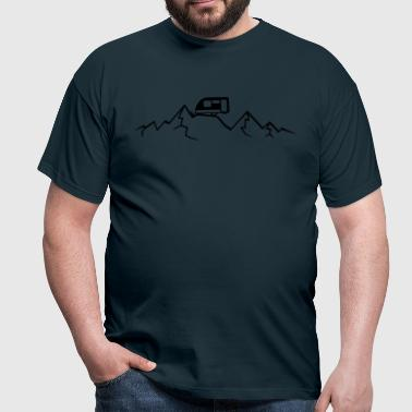 Mountains Alps Caravans above mountains at - Men's T-Shirt