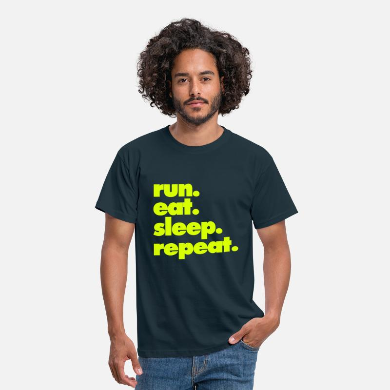Activities T Shirt T-Shirts - RUN EAT SLEEP REPEAT - Men's T-Shirt navy