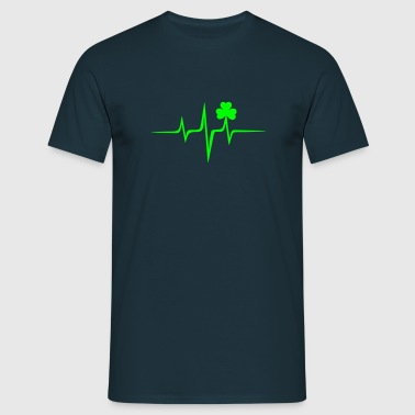 Music heart rate shamrock Patricks Day Irish Folk - Men's T-Shirt