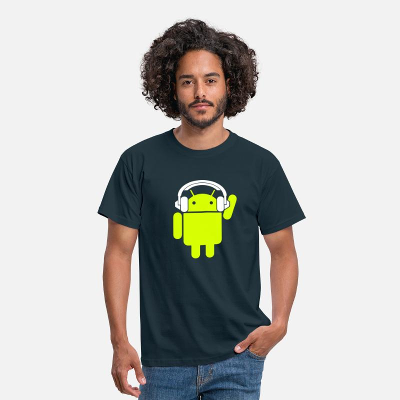 Android T-Shirts - Android Headphone - Mannen T-shirt navy