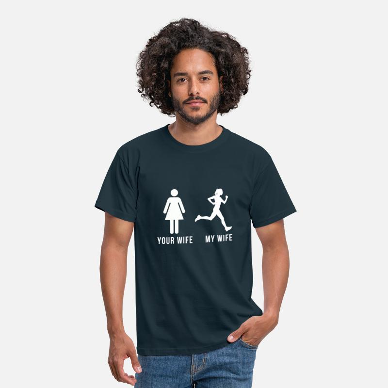 My T-Shirts - Your wife my wife-runner - Men's T-Shirt navy