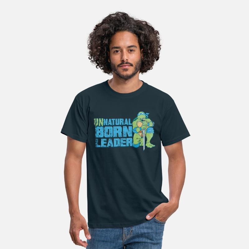 Cool T-Shirts - TMNT Turtles Leonardo Unnatural Born Leader - Men's T-Shirt navy