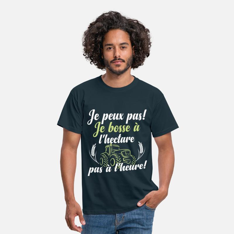 Agriculteur T-shirts - Je bosse à l'hectare - T-shirt Homme marine
