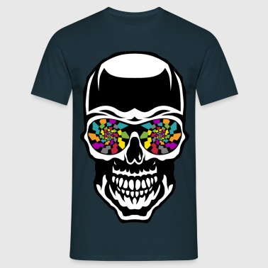 head of death crane eye checker kaleidoscope fantasy - Men's T-Shirt