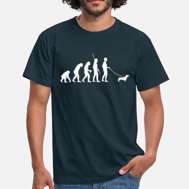 Evolution Walkies Walking Dog Dachshund Evolution  - Men's T-Shirt