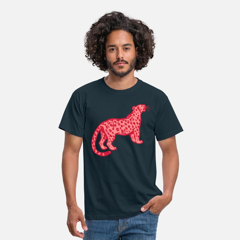 Leopard T-Shirts - Curious Leopard by Cheerful Madness!! - Men's T-Shirt navy