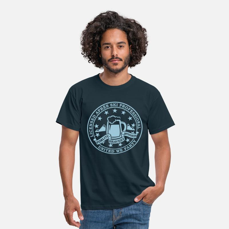 Ski T-Shirts - Comic i love winter sports Après-ski beer skiing and party license badge slogan for geek clubbing stag do students partying  - Men's T-Shirt navy